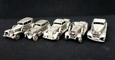 Set of 5 Danbury Mint Pewter Model Cars In Good Condition