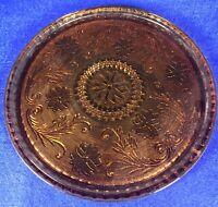 """Vintage Tiara Amber Indiana Glass 10"""" Round Serving Tray - Cake - Platter"""