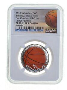 2020-S Colorize Basketball Hall Of Fame Half Dollar PF70-NGC TipOff Release*0185