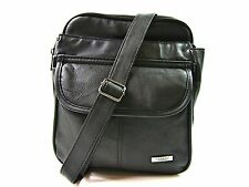 New Soft Leather Black Travel Bag Messanger Man Bag Crossover Shoulder Satchel