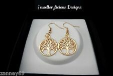 Beautiful Light Champagne Gold Tree Of Life Earrings