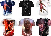 New Michael Jordan 3D T-Shirt NBA Basketball Chicago Full Print Size S - 7XL