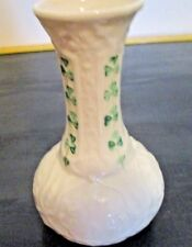 Belleek Irish Shamrocks Clover & Celtic Design Vase w Yellow Iridescent Inside V