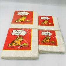 4 Vintage New Old Stock Garfield Party Paper Napkins Lunch & Cocktail Jim Davis