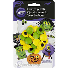 WILTON SPOOKY CANDY EYEBALLS GREEN + YELLOW EYE CAKE TOPPERS CUPCAKE DECORATING