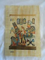 Egyptian Papyrus Paper Painting King Tut & Queen Nefertari 9X13""