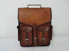 Mens Leather Vintage Laptop Walking Backpack Rucksack Messenger Bag Satchel NEW