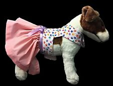 Pink Doggie Dress with Satin Bow and Jeweled Crystal Ornamentation