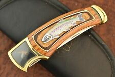 FRANKLIN MINT KNIFE IN ZIPPER POUCH COLLECTOR RAINBOW TROUT & FLY JIG NICE (8904