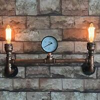 2 Heads Retro Vintage Industrial Cafe Home Bar Loft Water Pipe Sconce Wall Lamp