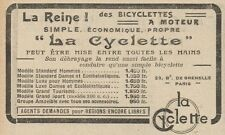 Y7632 Bicyclettes a Moteur LA CYCLETTE - Pubblicità d'epoca - 1924 Old advert