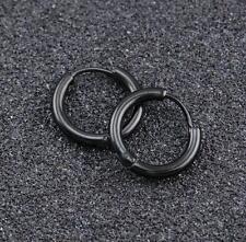 men's Women unisex Hoops Earrings 16mm Big Black Titanium Stainless Steel