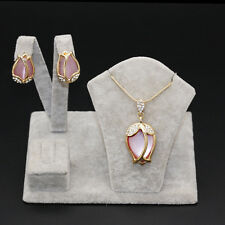 Fashion Chic Pink Crystal Capullos Pendant Women Necklace Earrings Jewelry Sets