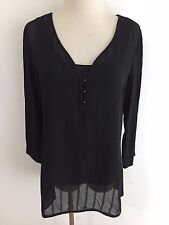 MiracleSuit Everyday Shapewear 1/4 Button V-Neck Top Blouse Black Size M