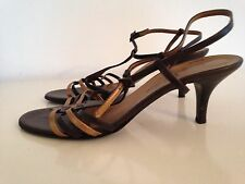 ROBERTO VIANNI Shoes Strappy Brown Gold  Slingback Heels size  40 UK 7