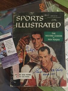 GORDIE HOWE & TED LINDSAY SIGNED Autograph 1957 SPORTS ILLUSTRATED JSA Red Wings