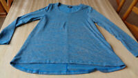 Jones New York Size XL Knit Top A Line Long Sleeve Blue Gray Marbled Sweater