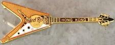 "Hard Rock Cafe HONG KONG 2000 Gold & White Flying ""V"" GUITAR PIN - HRC #31072"