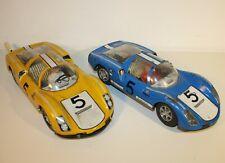 Joustra 2 x Porsche 906 Carrera GT blau und gelb aus Blech (1970er Jahre)