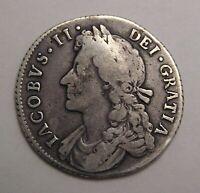Great Britain Silver Shilling 1688 James II R.
