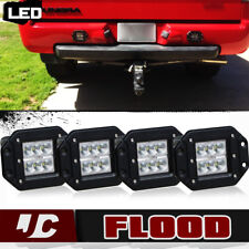 "4 PCS 5"" Flush Mount Total 72W CREE LED Flood Light For Truck Jeep Off-Road Ford"