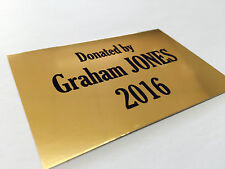 Personalised Laser Engraved Gold Metal Plate 150x100mm Name Plaque Aluminium