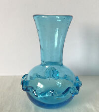 Small Vintage / Antique Pale Blue Glass Vase with Applied Decoration 8.75cm Tall