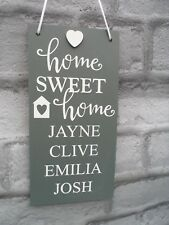 Personalised Plaque New Home Gift Housewarming Home Sweet Home Sign Family Names