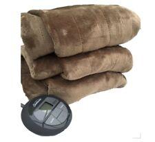 Sunbeam Channeled Velvet Plush Electric Heated Blanket King Size Seashell
