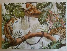 "LEOPARD - JUNGLE - Kitchen  Plastic - Foam Placemats 18""x13"" in  set of 4"