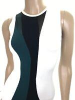 Cushnie ET Ochs Striped Skater Dress Knit Sleeveless White/Green/Black Size XS