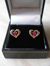 PAIR OF 9 CARAT GOLD HEART SHAPE RUBY FANCY STUD EARRINGS MADE IN UK BRAND NEW