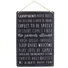 Grandparents House Rules - Fun Metal Wall Hanging Sign