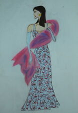 Vintage woman costume design drawing