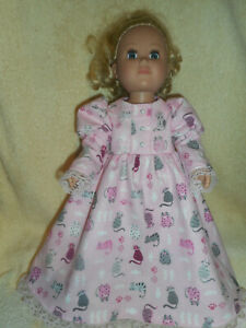 18 doll clothes fits American Girl & My Life - pink kitty nightgown & slippers