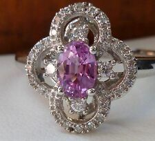 NEW Natural Pink Sapphire & Diamond Halo Flower Ring Band- 10K White Gold- Sz 8