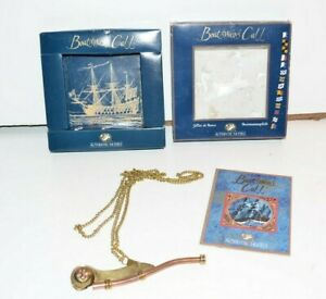 """Brass Copper Boatswain Whistle 5"""" With Chain Bosun Call Pipe Nautical"""