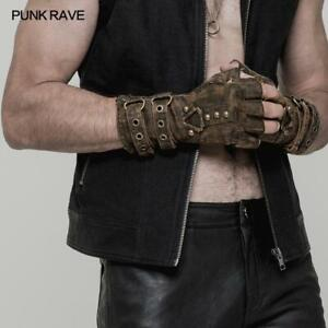 Punk Rave Mens Gothic Rock Biker Military Steampunk Fingerless Brown Gloves