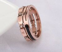 Fashion Women Rose Gold Plated Roman Number Titanium Stainless Steel Ring SZ 5-9