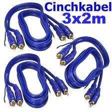 Verstärker Cinchkabel Cinch Kabel 3x 2m Blue Line 2 fach geschirmt