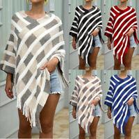 Women Tassel Irregular Cardigan Knitted Sweater Cape Poncho Shawl Coat Outwear K