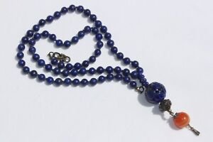 Old Vintage Chinese Carved Lapis Lazuli Beaded Necklace Silver Clasp Carnelian