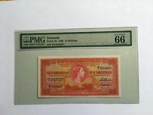 """Bermuda P-19c 1966 10 shillings Gem uncirculated """"66"""""""