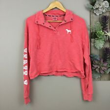 Victoria Secret PINK Womens XS Top Cute Bright Coral Long Sleeve Cropped Shirt