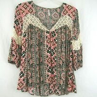 Free People Black Pink Peach Blouse Top 3/4 Sleeve Lace Boho Festival Size XS