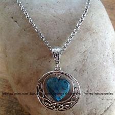 collier coeur des celtes pendentif entrelacs celtiques et coeur en Agate bleue