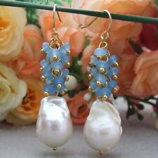 FC060415 Natural 18MM White Keshi Pearl Blue Faceted Jade Earrings
