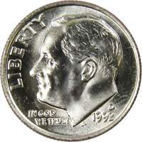 1992 D 10c Roosevelt Dime US Coin BU Uncirculated Mint State