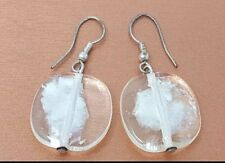 Vintage White Clear Frosted Lucite pierced Earrings