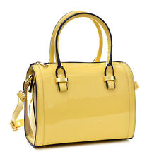 New 2018 Women Faux Patent Leather Handbag Mini Barrel Satchel Tote Bag Purse